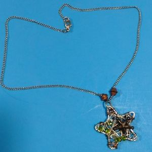 Star Open Wire Necklace Mixed Metal Green Stones